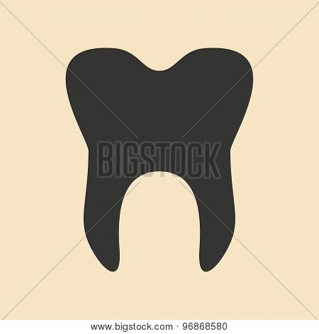 Flat in black and white mobile application wisdom tooth