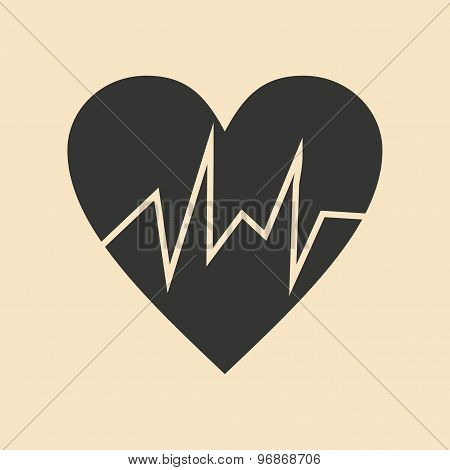 Flat in black and white mobile application logo cardiology