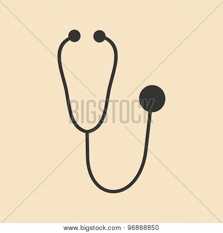 Flat in black and white mobile application stethoscope