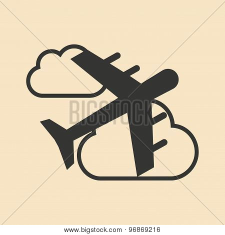 Flat in black and white mobile application flight