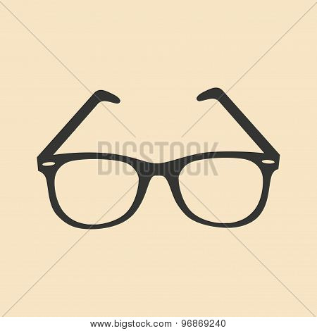 Flat in black and white mobile application glasses
