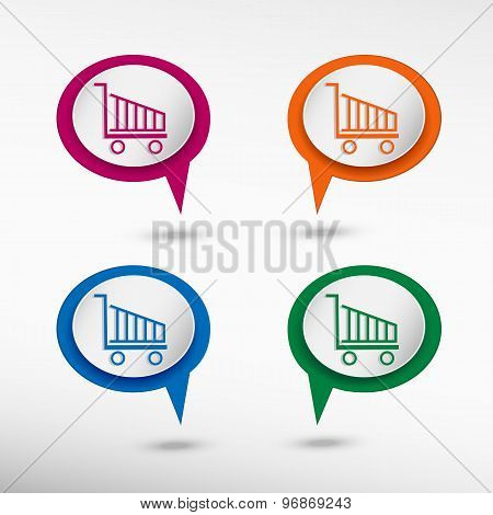 Shopping cart icon, shopping basket design on colorful chat speech bubbles
