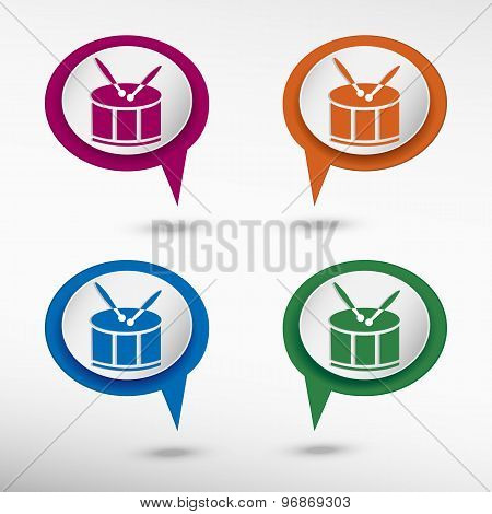 Drum Icon on colorful chat speech bubbles