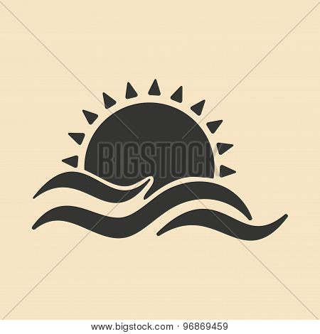 Flat in black and white mobile application sunset