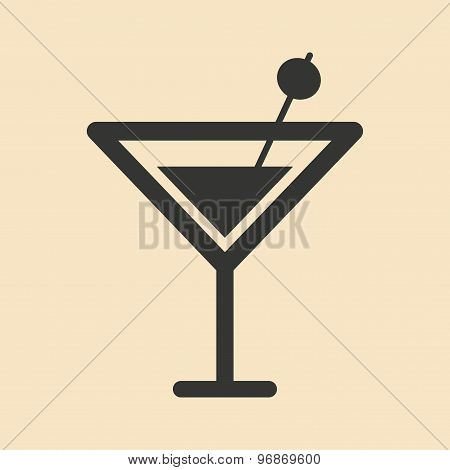Flat in black and white mobile application martini