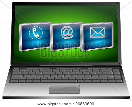 Laptop with contact us button