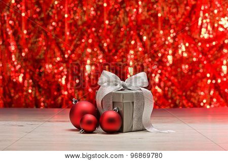 Silver Present And Red Baubles
