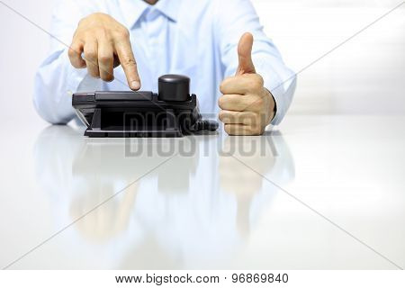 Like Hand With Office Phone On Desk