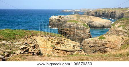 Spanish Cathedrals Beach - Playa De Las Catedrales In Atlantic Ocean