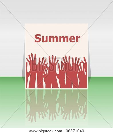 Word Summer And People Hands, Holiday Concept, Icon Design
