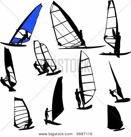 windsurfing - vector