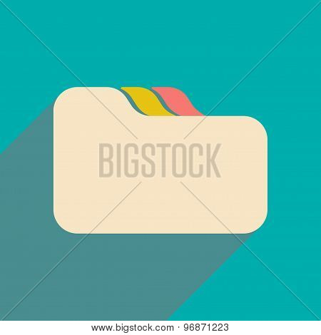 Flat with shadow icon and mobile applacation file folder