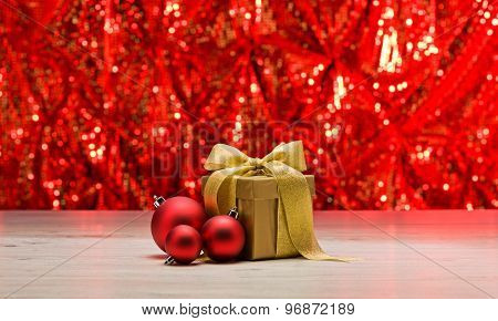 Gold Present With Red Bauble