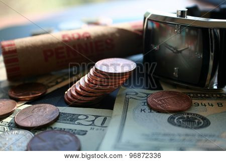 Pennies close up stock photo