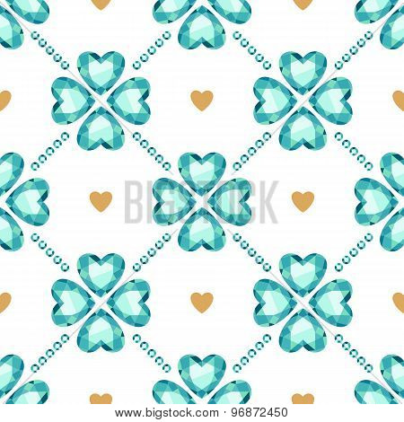 Green gemstones lucky clover seamless pattern.