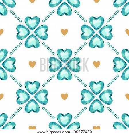 Green gemstones lucky clover seamless pattern.