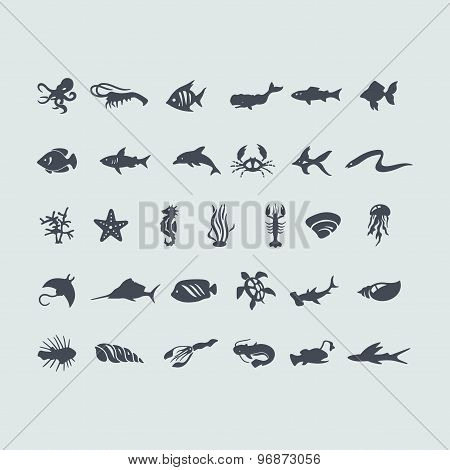 Set of sea animals icons