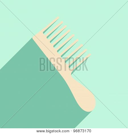 Flat with shadow icon and mobile application hair brush