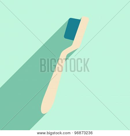 Flat with shadow icon and mobile application Brush teeth