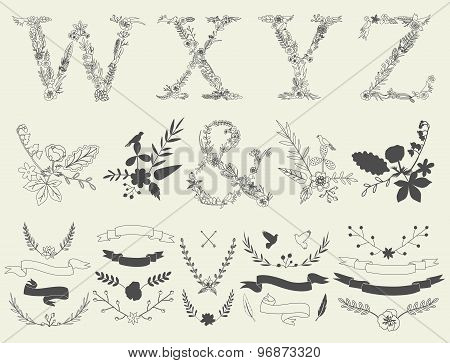 Letters W, X, Y, Z And Ampersand. Floral Elements Of Vintage Alphabet