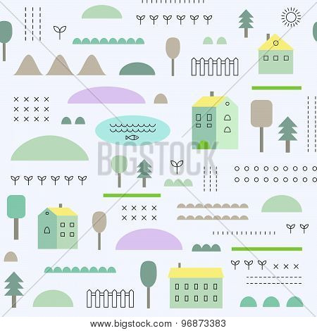 Eco Structure. Seamless Pattern with houses