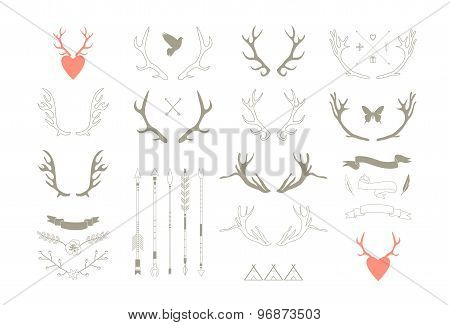 Antlers, Arrows, Ribbons. Decor Elements. Isolated.