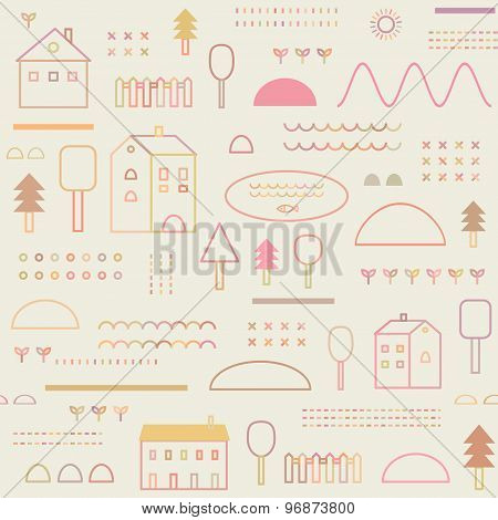 Eco Structure. Seamless Pattern
