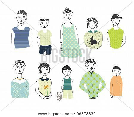 Girls, Boys, Men, Women Isolated On A White Background.  Doodle Set.