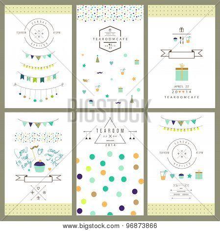 Set of 6 colorful cute invitations
