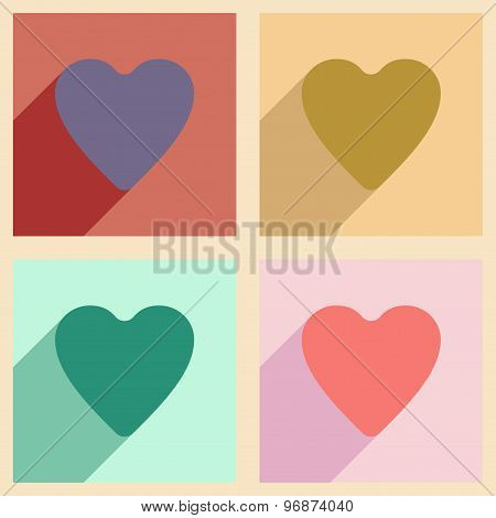 Flat with shadow concept and mobile application logo heart
