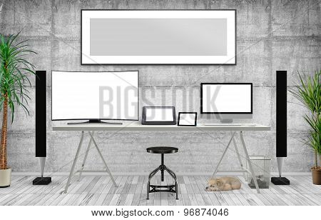 Desktop Mockup, 3D Illustration