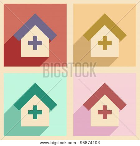 Flat with shadow concept and mobile application Hospital logo