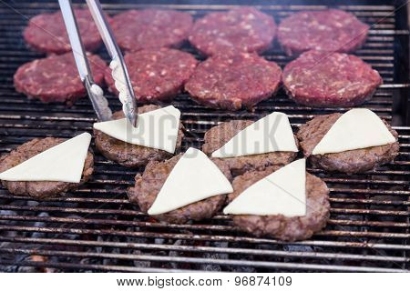 Hot Grill Burger Cutlet Barbeque On Grating