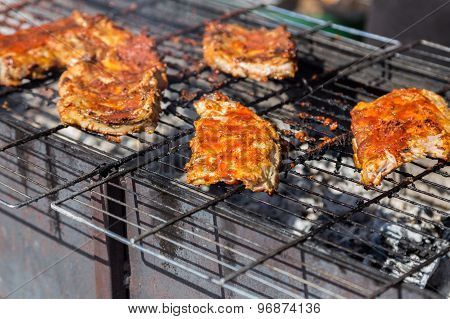 Hot Grill Ribs Barbeque On Lattice