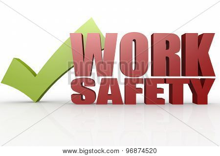 Green Check Mark With Work Safety Word