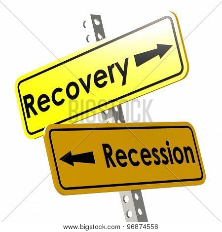 Recovery And Recession With Yellow Road Sign