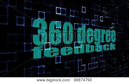 Pixelated Words 360 Degree Feedback On Digital Background