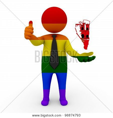 3d businessman people LGBT - with a map of the flag of Gibraltar