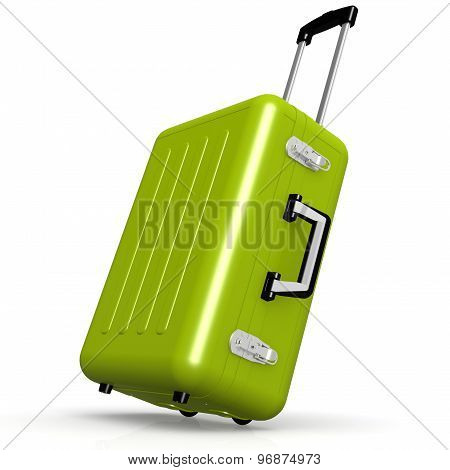 Green Luggage In Angle Position