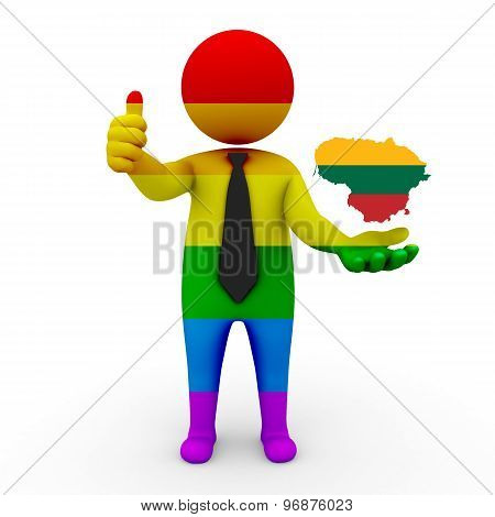 3d businessman people LGBT - with a map of the flag of Lithuania