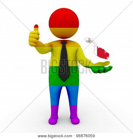 3d businessman people LGBT - with a map of the flag of Malta