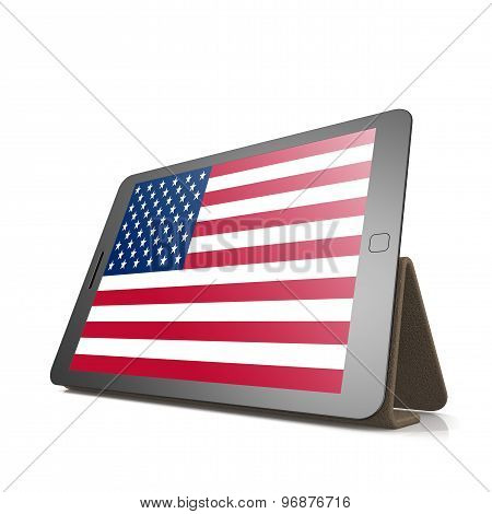 Tablet With United States Flag
