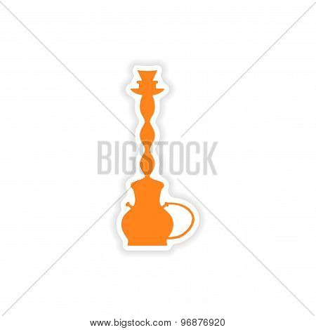icon sticker realistic design on paper hookah shisha