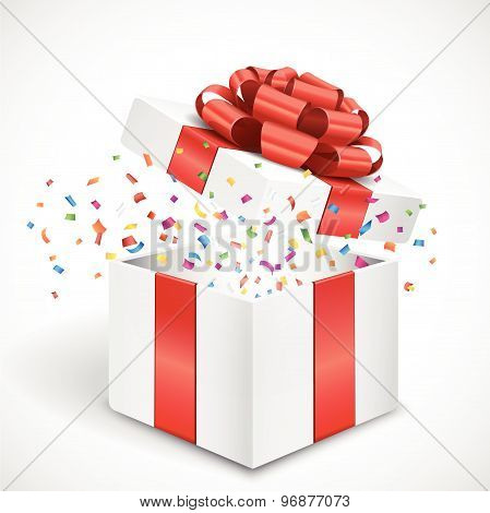 Open 3d gift box with red bow and confetti
