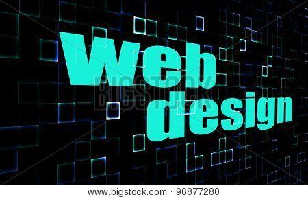 Web Design Word On Digital Background
