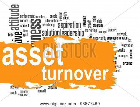 Asset Turnover Word Cloud With Orange Banner