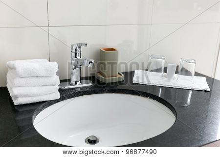 Bathroom Sink At Restroom Hotel Interior