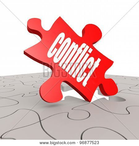 Conflict Word With Puzzle Background