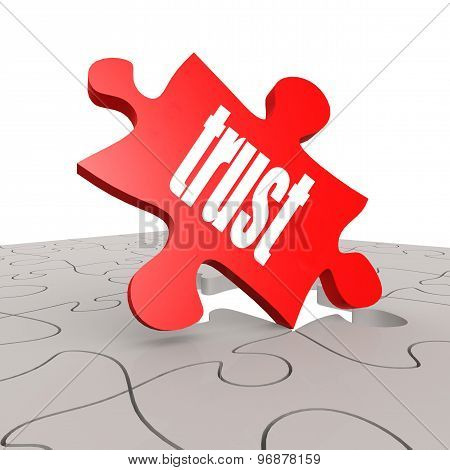 Trust Word With Puzzle Background