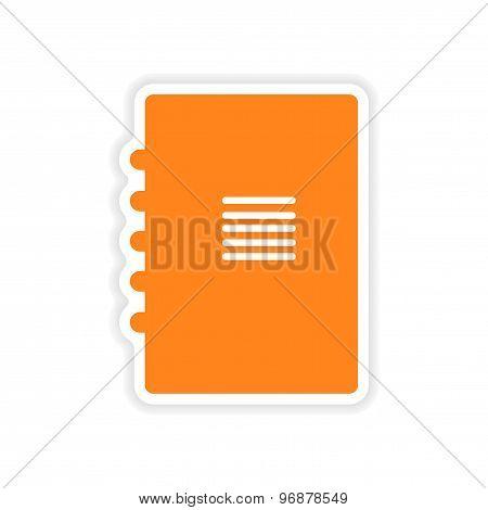 icon sticker realistic design on paper notebook